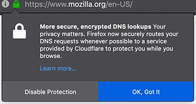 Example of a Mozilla warning, regarding DNS over HTTPS (DoH) - Cisco Umbrella Blog